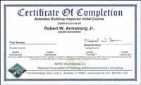 Asbestos Building Inspector certificate